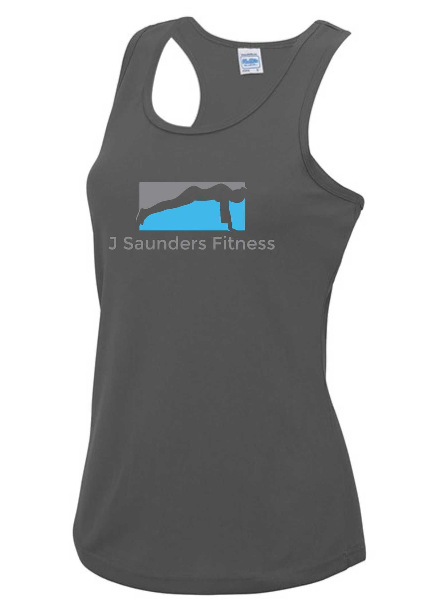 J Saunders Fitness- Ladies Vest (Chest Print)