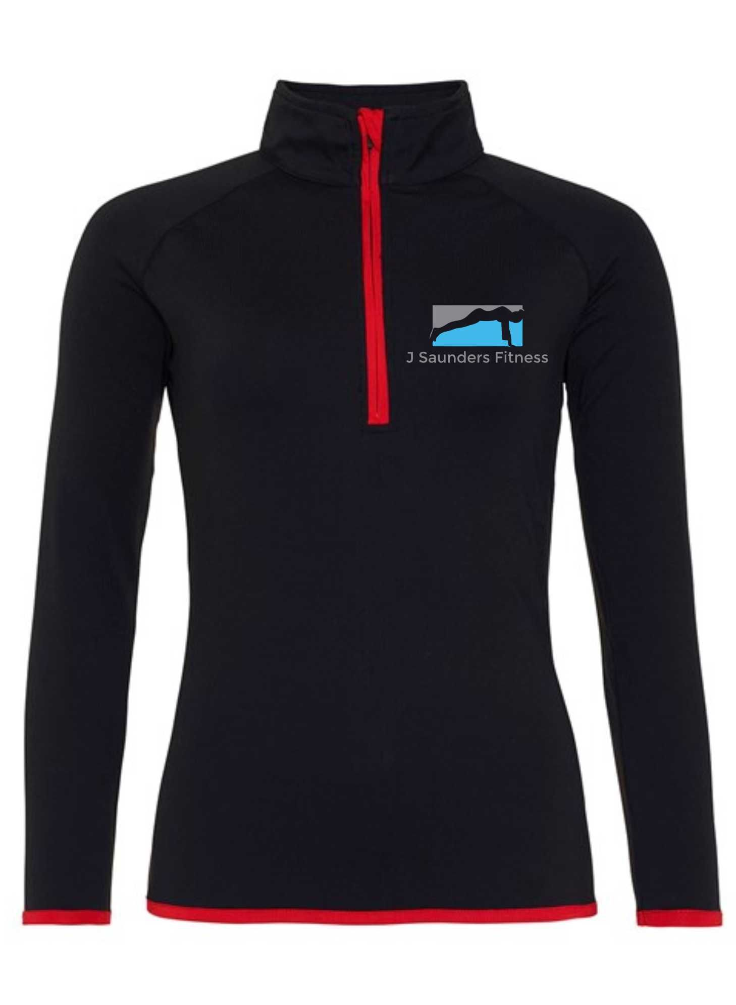 J Saunders Fitness- Sports 1/2 Zip Sweater (Ladies)