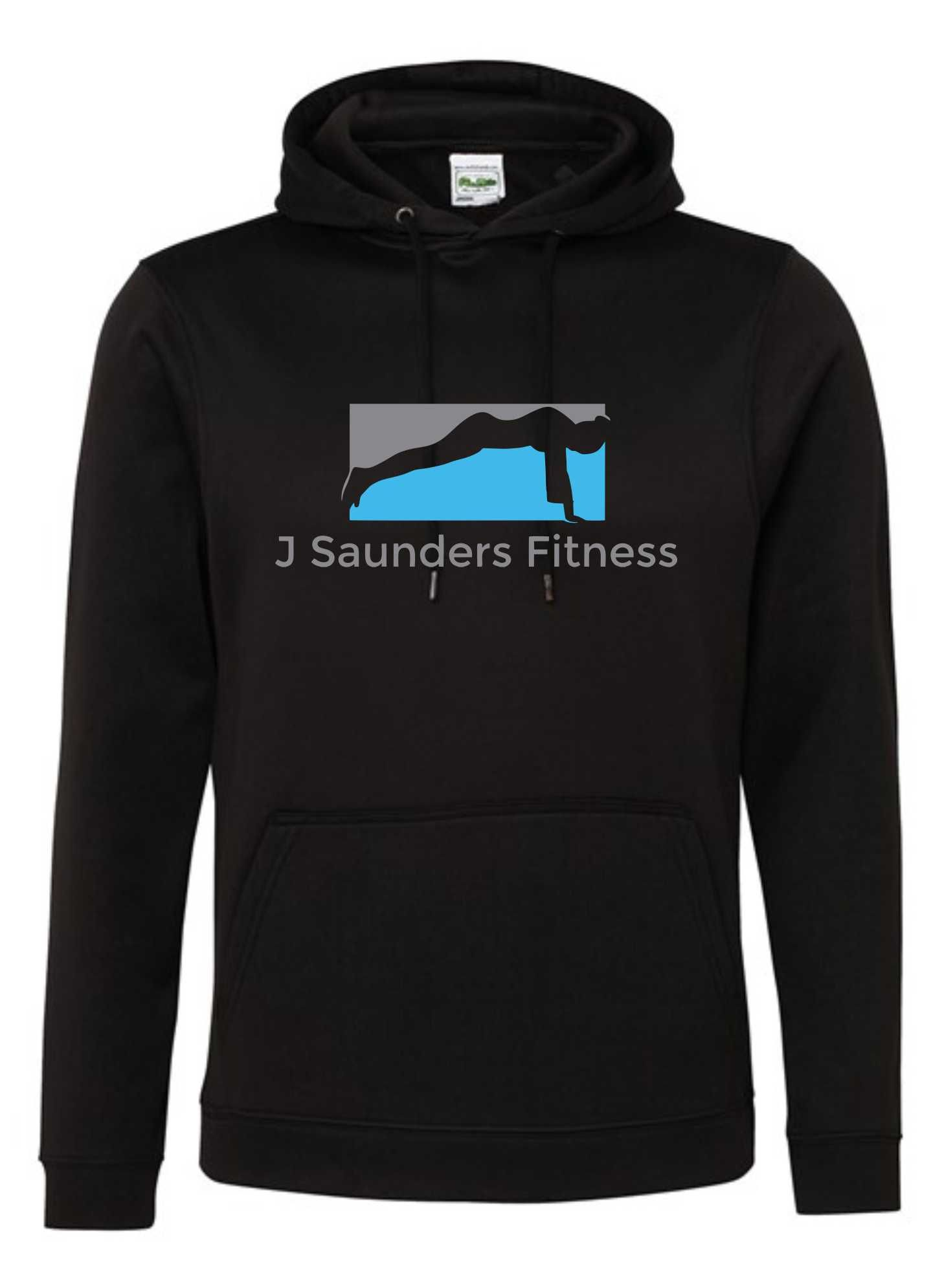 J Saunders Fitness- Polyester Unisex Sports Hoodie (Chest)