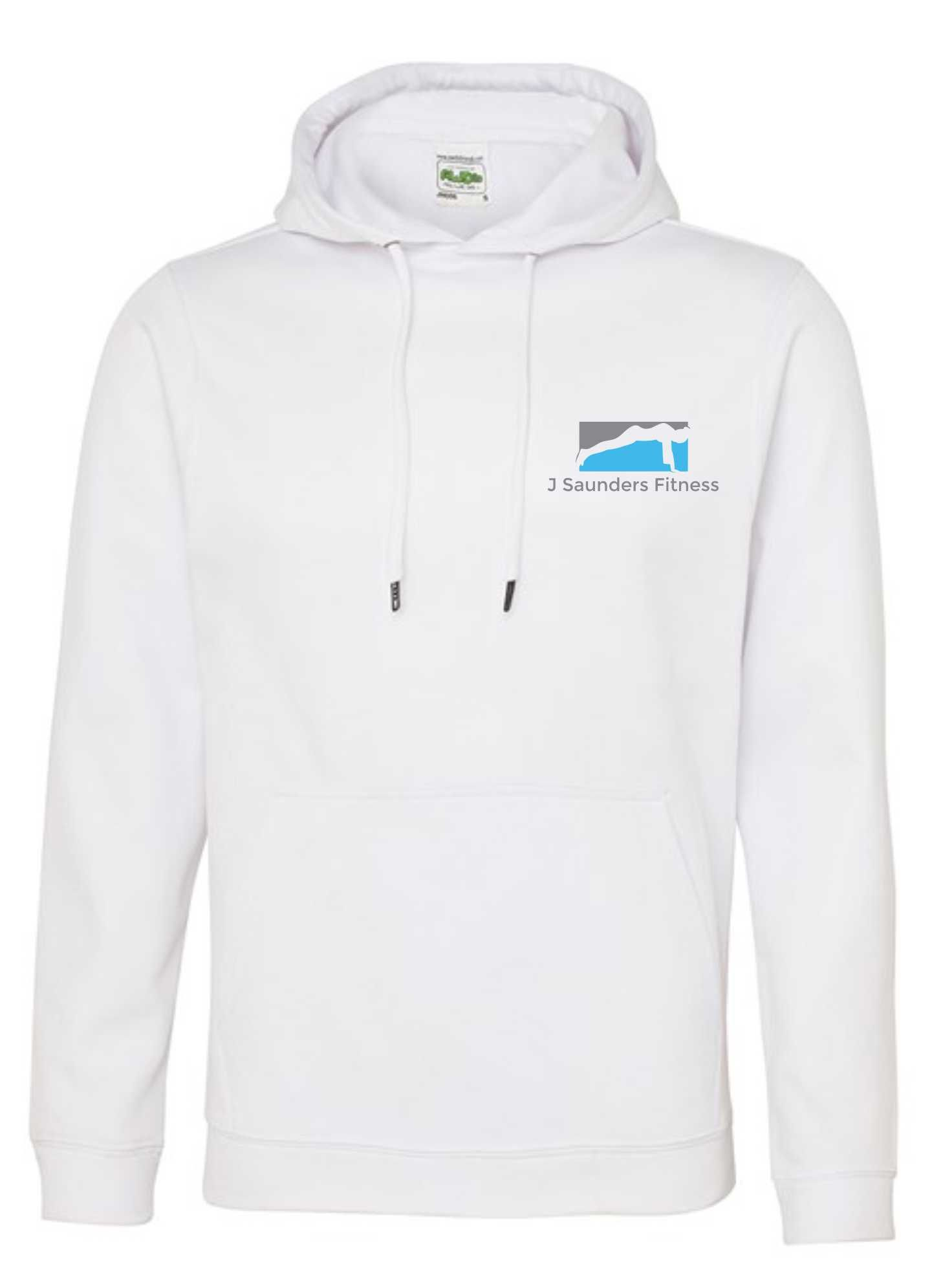 J Saunders Fitness- Polyester Unisex Sports Hoodie (Front & Back)