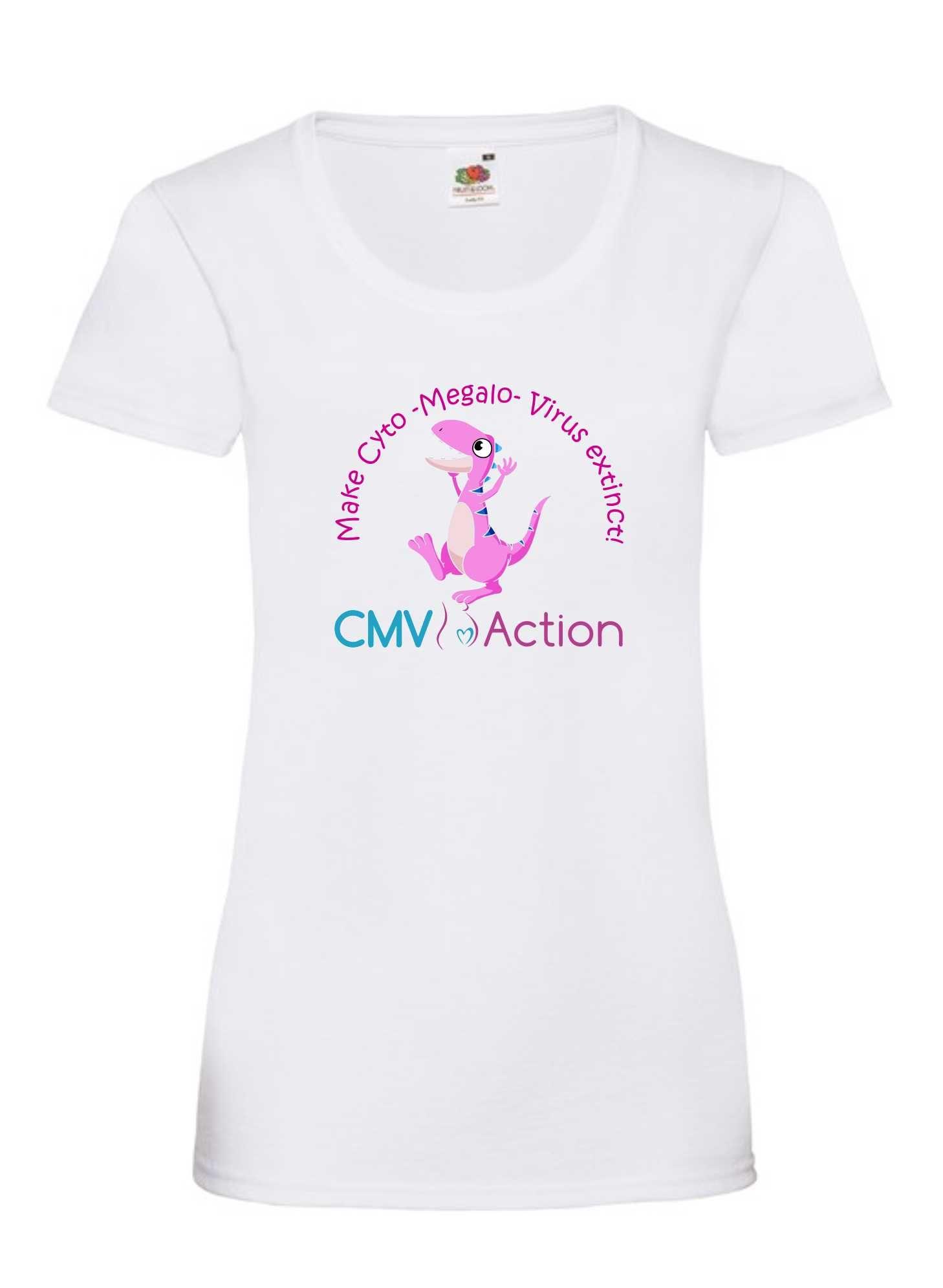 CMV- Pink Dinosaur Tee (White) (Ladies)