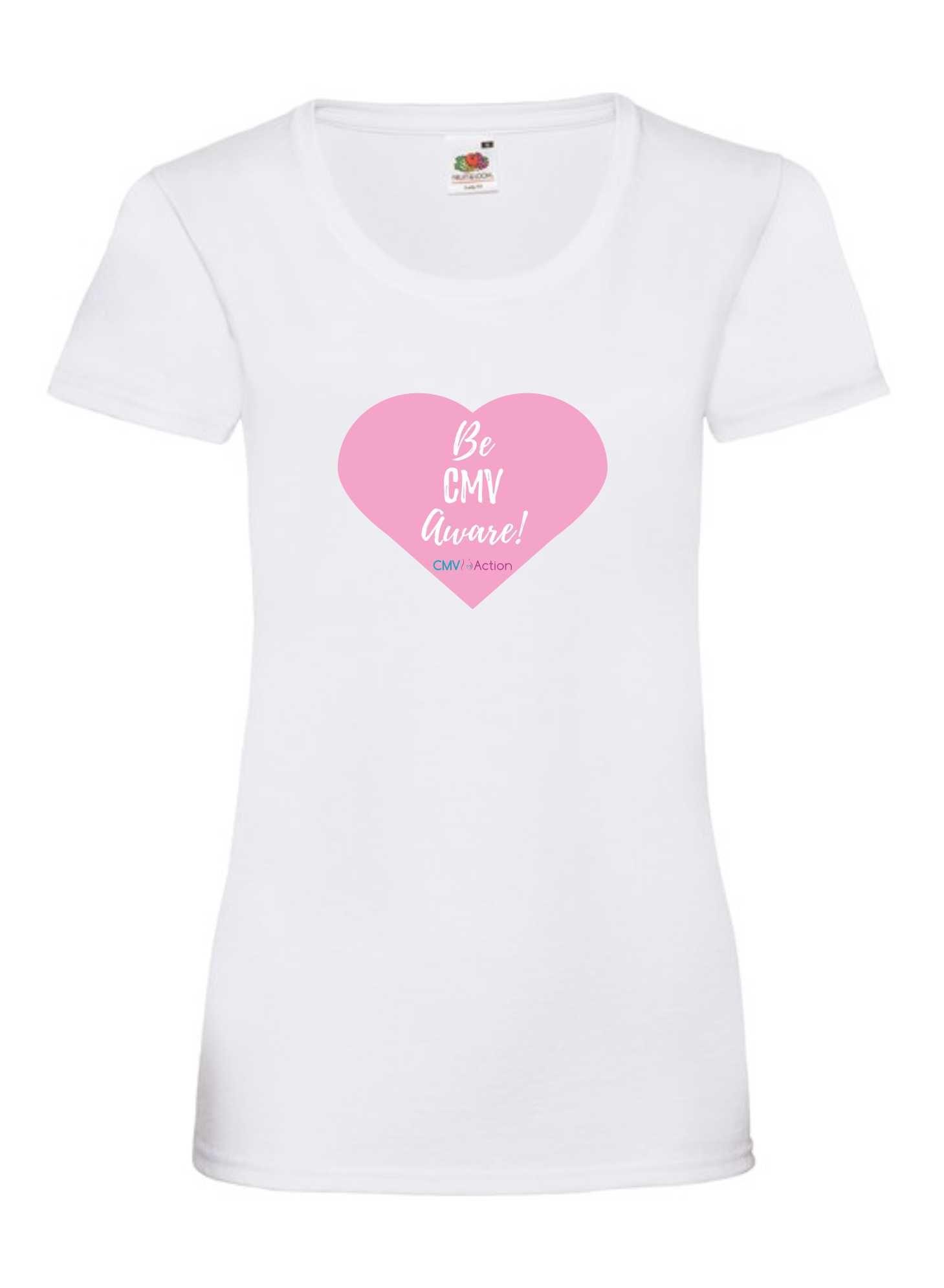 CMV- Pink Heart Tee (White) (Ladies)