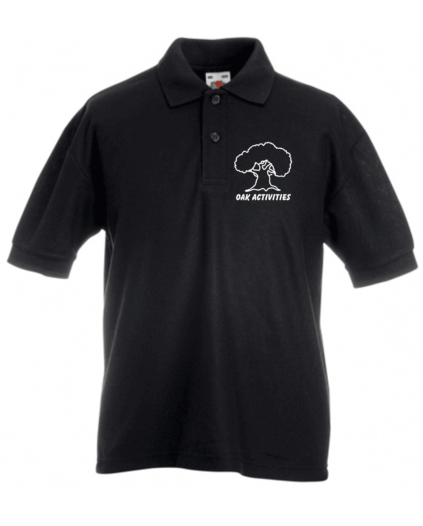 Oak Activities – Kids Pique Polo (Black)